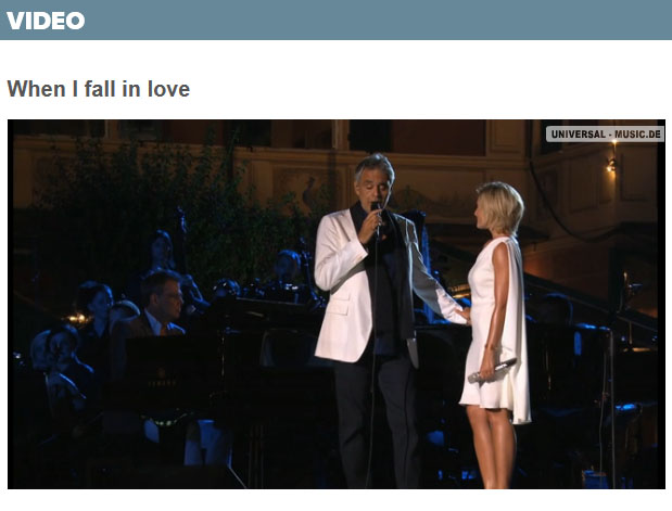 "Video ""When I fall in love"" bei Klassikakzente, Universal.de"